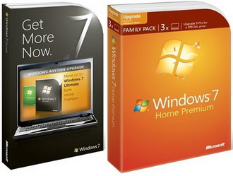 Windows 7 Family Pack si Anytime Upgrade retail